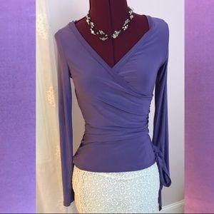 Gorgeous purple draped wrap top!